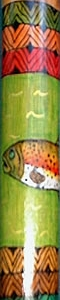 Wood Walking Cane with 'Rainbow Trout' Design.