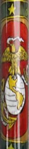 Personalized Wood Walking Cane 'USMC' insignia.