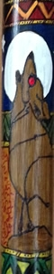 Custom Walking Stick With Hand Inked 'Wolf' Design.
